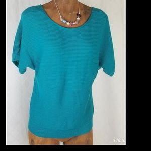 LOFT Ribbed blue green Top SIZE SP